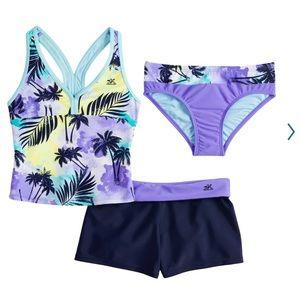 Girls tanking swimsuit and shorts set size 16